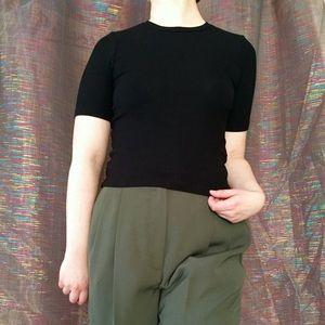 Black ribbed t-shirt blouse